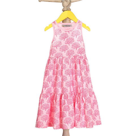 Mi Dulce An'ya coral print,tiered Maxidress for Baby Girls