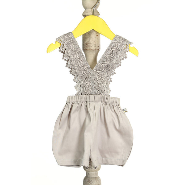 Mi Dulce An'ya 'V' neck, wide lace Romper for Baby Girls