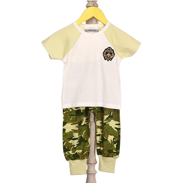 Mi Dulce An'ya Army badge applique Top with camoflage print lounge pants for baby boys