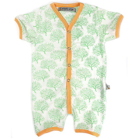 Mi Dulce An'ya coral print Romper with contrast binding for Baby Boys