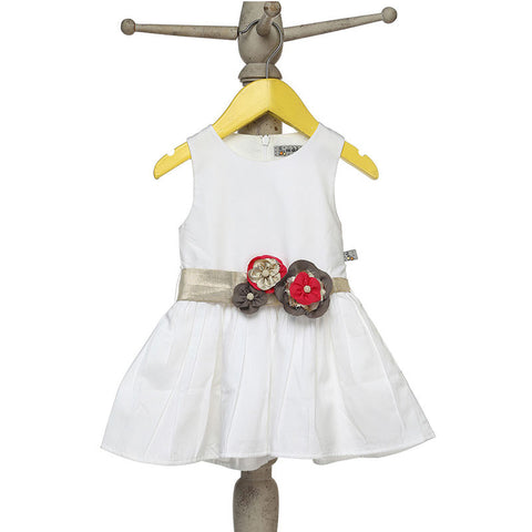 Mi Dulce An'ya Formal sleeveless Dress with flower embellished belt for Baby Girls