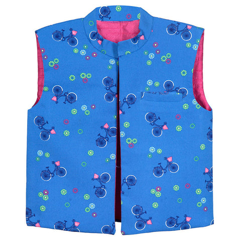 Hickory Dickory Cycle Print Blue Summer Jacket