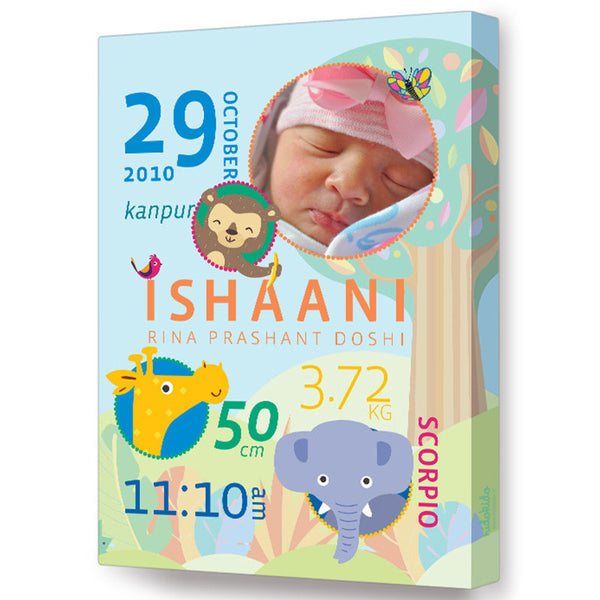 NidoKido Personalized Birth Details Frame Jungle Animals