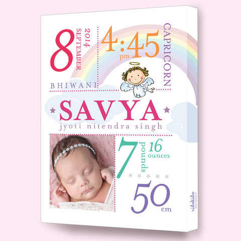 NidoKido Personalized Birth Details Frame Rainbow Angel