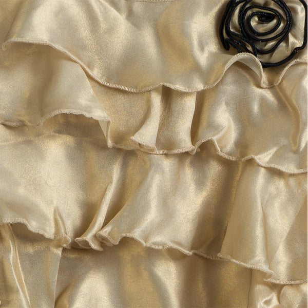 Aure Gold Georgette Ruffled Dress
