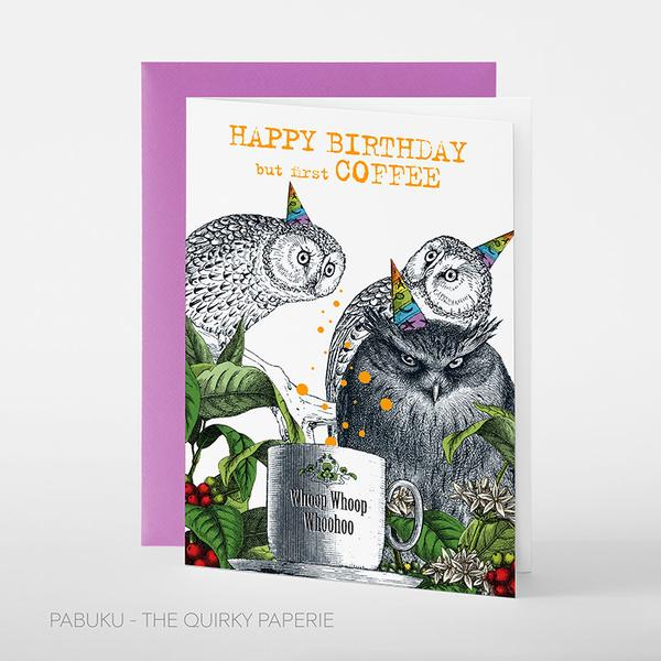 Coffee Owl Birthday Card