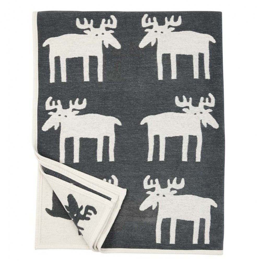 Moose Grey 140x180cm Organic Cotton Chenille Blanket