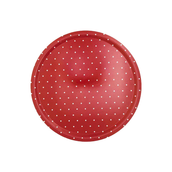 Dotty Red Birchwood Ø46cm Round Tray