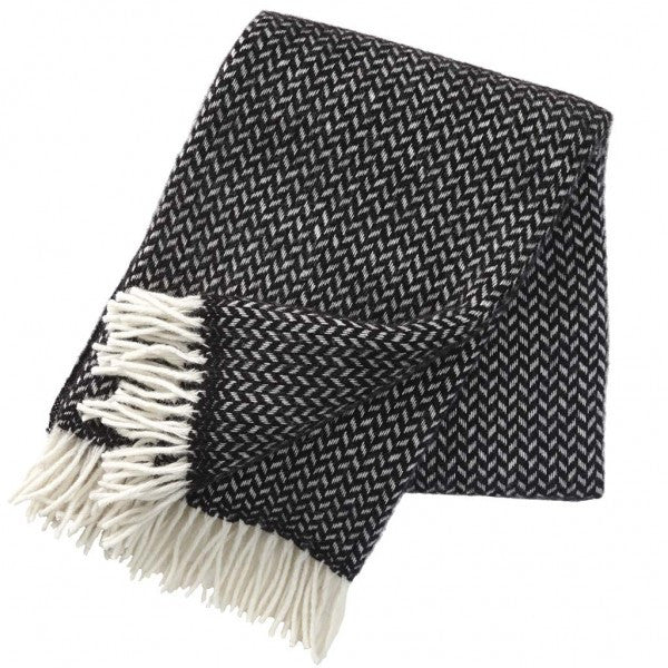 Polka Black Lambswool Throw