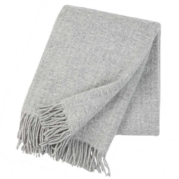 Twist Light Grey Lambswool Throw