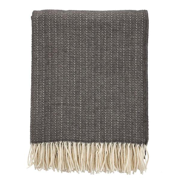 Pin Stripe Dark Grey Premium Wool Throw