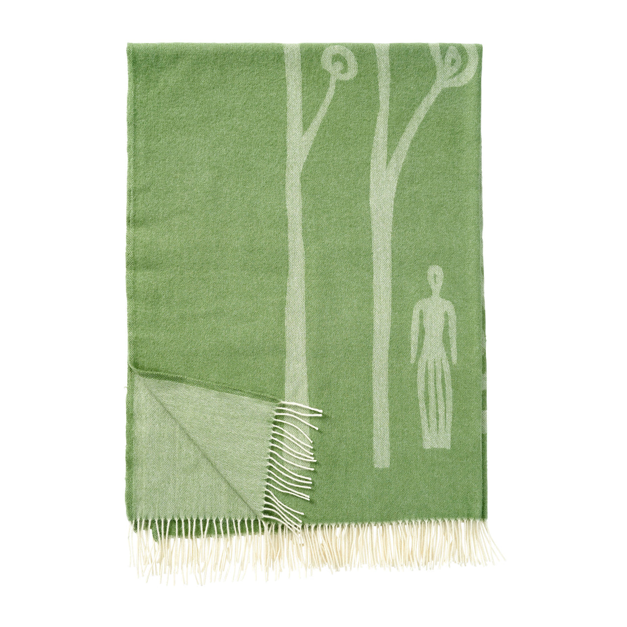 In The Woods Green 130x200cm Premium Wool Throw