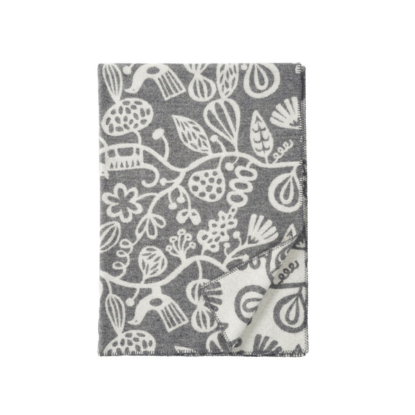 Botanical Garden Grey 130x180cm Lambswool Blanket