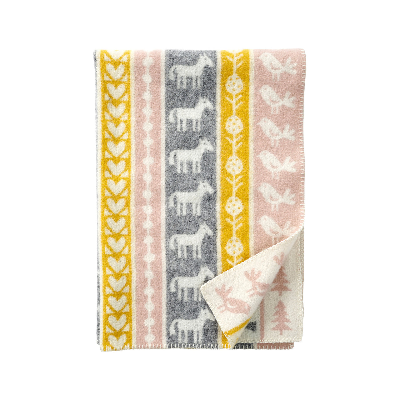 Nature Yellow/Pink 65x90cm Eco Lambswool Blanket