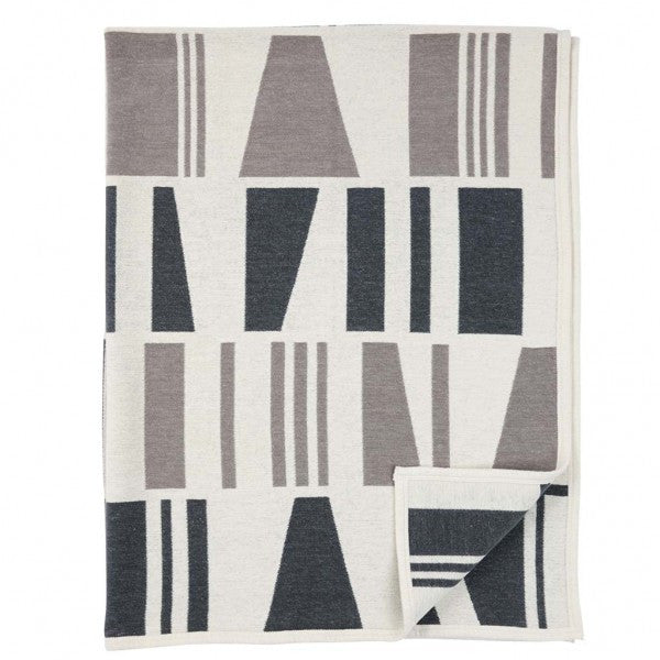 Geometry Grey Organic Cotton Chenille Blanket - Northlight Homestore