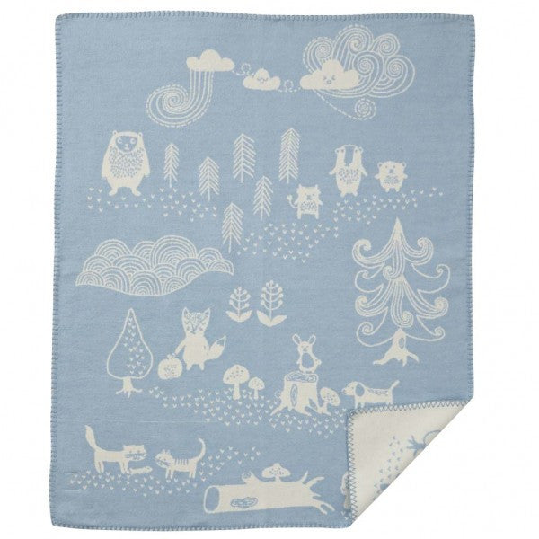 Little Bear Blue Organic Cotton Blanket