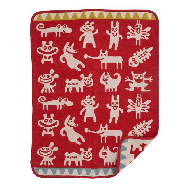 Monsters Red 70x90cm Organic Cotton Chenille Blanket