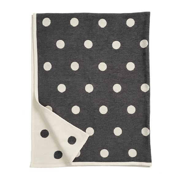 Dots Graphite 140x180cm Organic Cotton Chenille Blanket