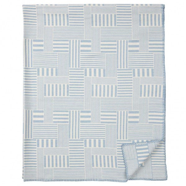 Muovo Blue Brushed Organic Cotton Blanket