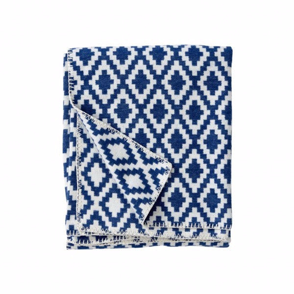 Diamonds Royal Blue Organic Cotton Blanket