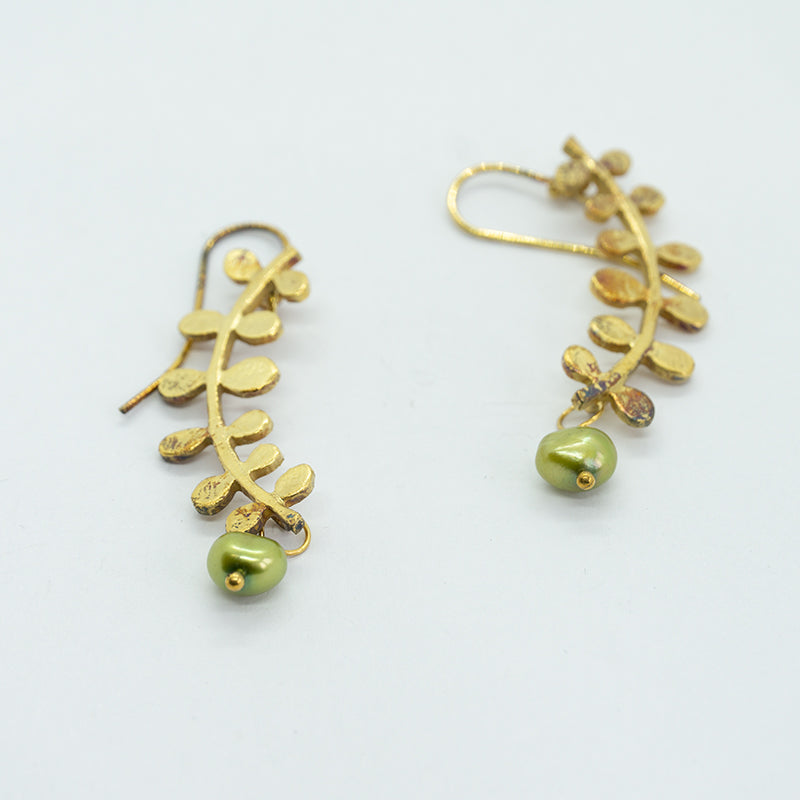 Vine earrings with green pearls in gold plated sterling silver