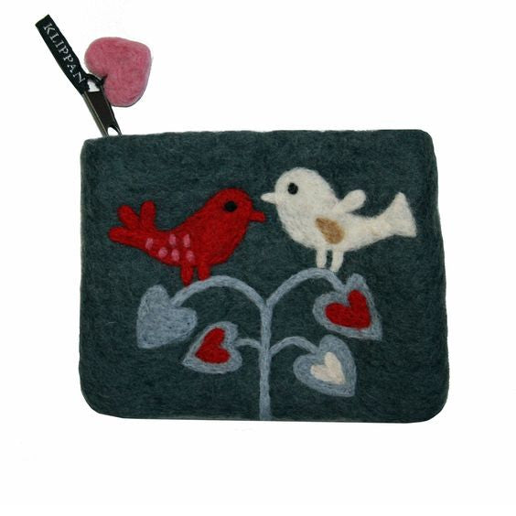 Lovebirds Felt Purse - Northlight Homestore