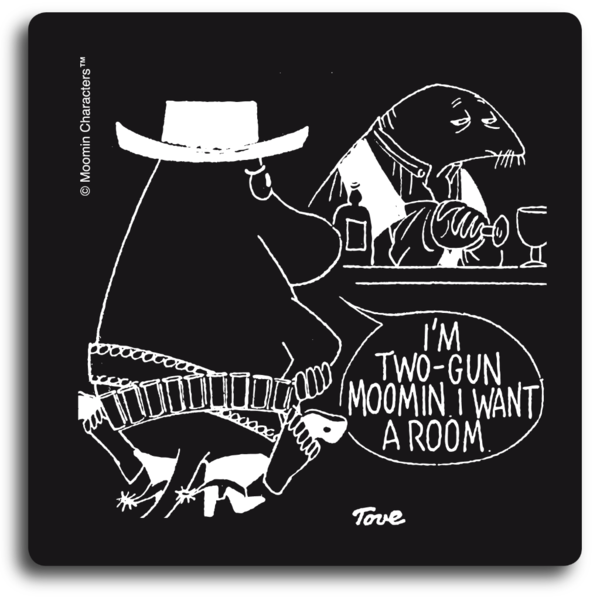 Two Gun Moomin Black Coaster
