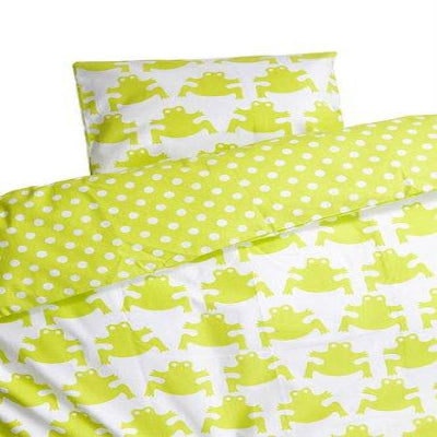 Pram Bed Set 70x80cm Cotton Frog Lime
