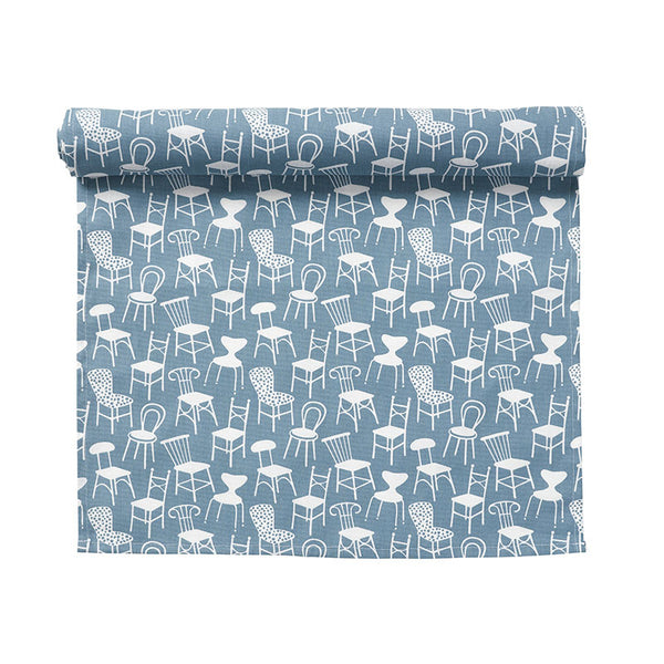 Chairs Blue Table Runner
