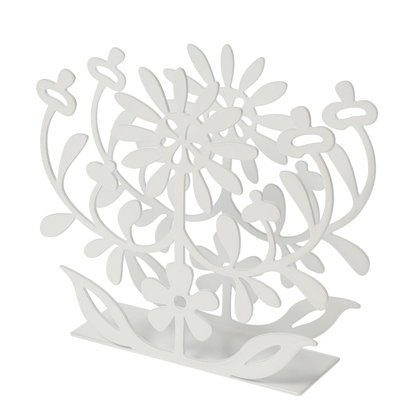 Floral White Napkin Holder