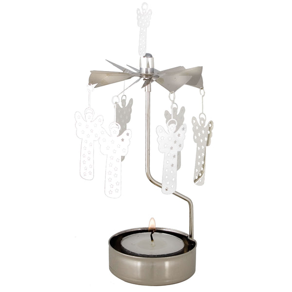 Silver Angel Rotary Candle Holder