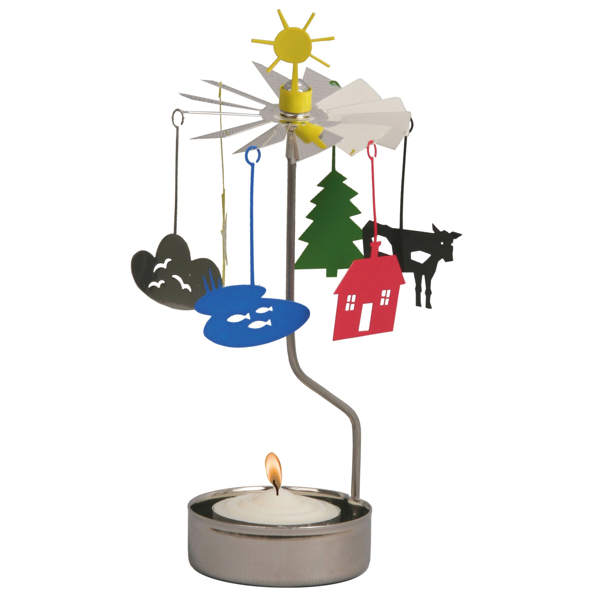 Sun & Cloud Rotary Candle Holder