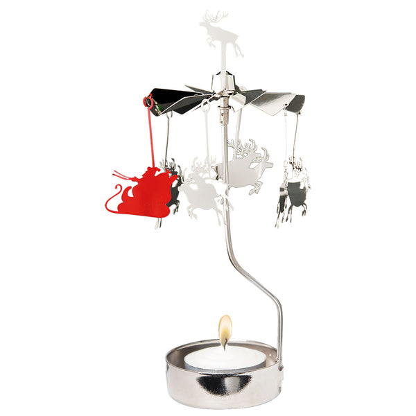 Santa and Deer Rotary Candle Holder - Northlight Homestore