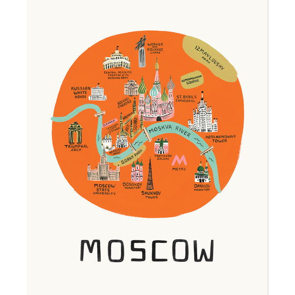 Moscow Map 11x14 Art Print - Northlight Homestore