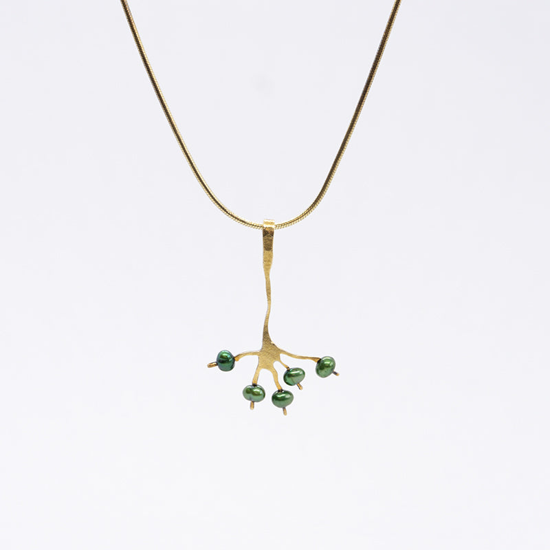 Berry Necklace With Green pearls and Gold Plated Sterling Silver Chain