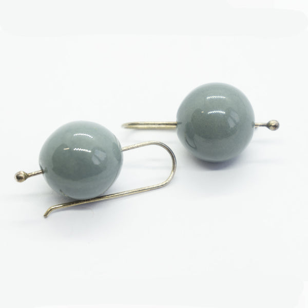 Berry Grey Big Ceramic Pearl Hook Earrings