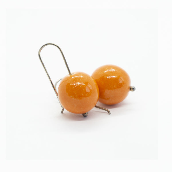 Berry Orange Big Ceramic Pearl Hook Earrings