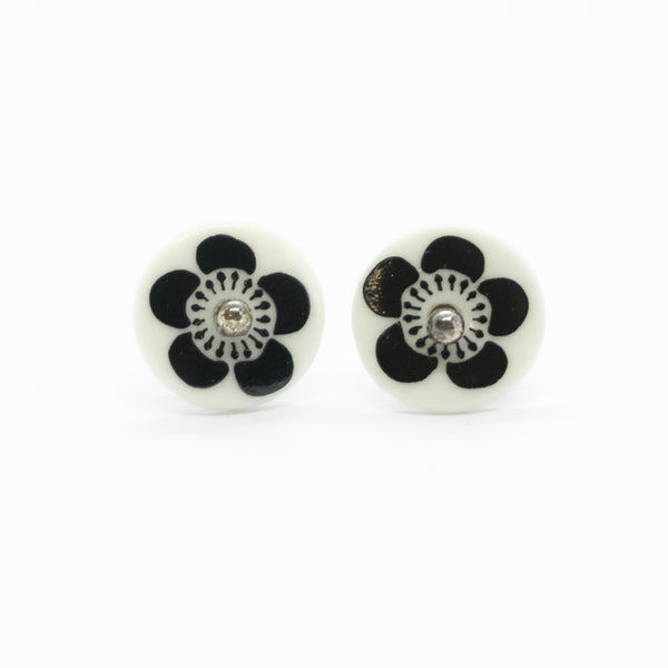 Bloom Black and White Porcelain Stud Earrings