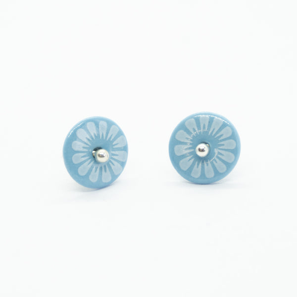 Bloom Petal Blue Porcelain Stud Earrings