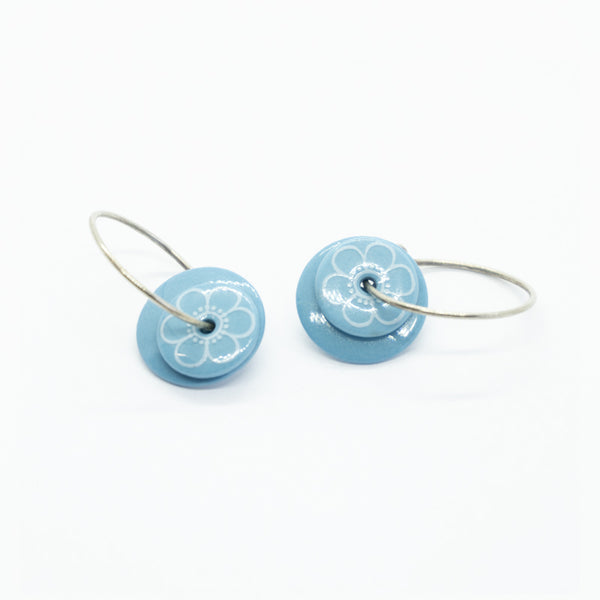 Bloom Outline Blue Porcelain Hoop Earrings