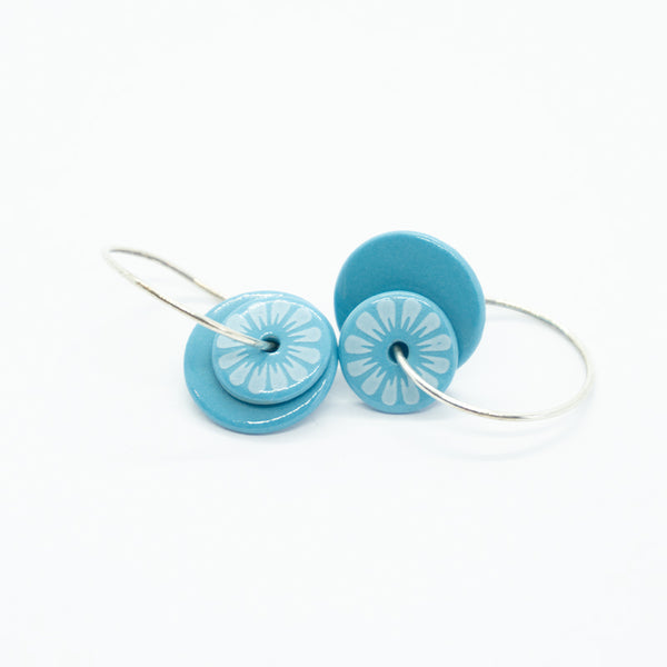 Bloom Petal Blue Porcelain Earrings