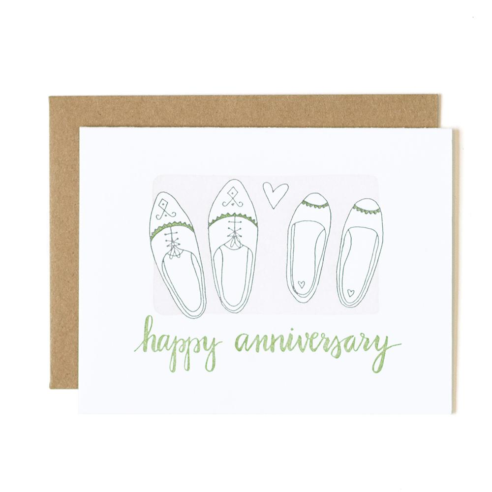 Happy Anniversary Shoes Letterpress Card