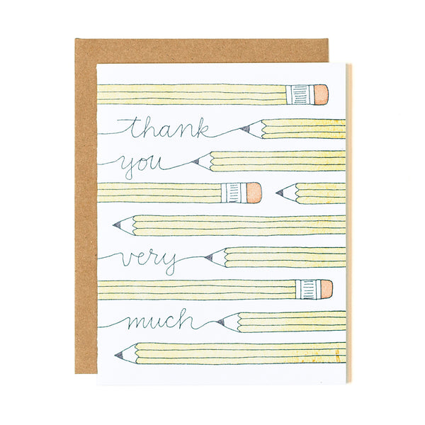 Thank You Pencils Letterpress Card - Northlight Homestore