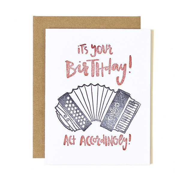 Accordion Birthday Letterpress Card