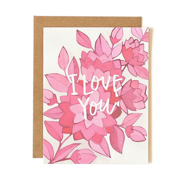 Pink Floral I Love You Card - Northlight Homestore