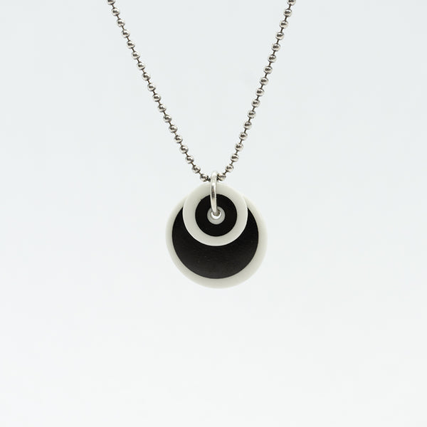 Circle Stripe Black and White Porcelain Necklace