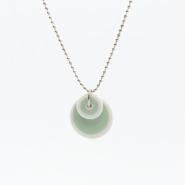 Circle Stripe Mint and White Porcelain Necklace