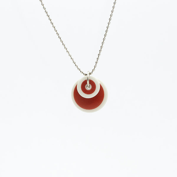 Circle Stripe Red and White Porcelain Necklace