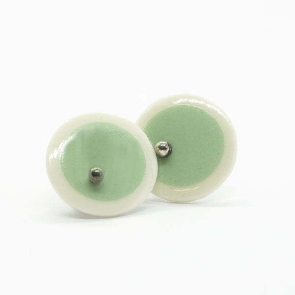 Circle Stripe Mint and White Porcelain Stud Earrings
