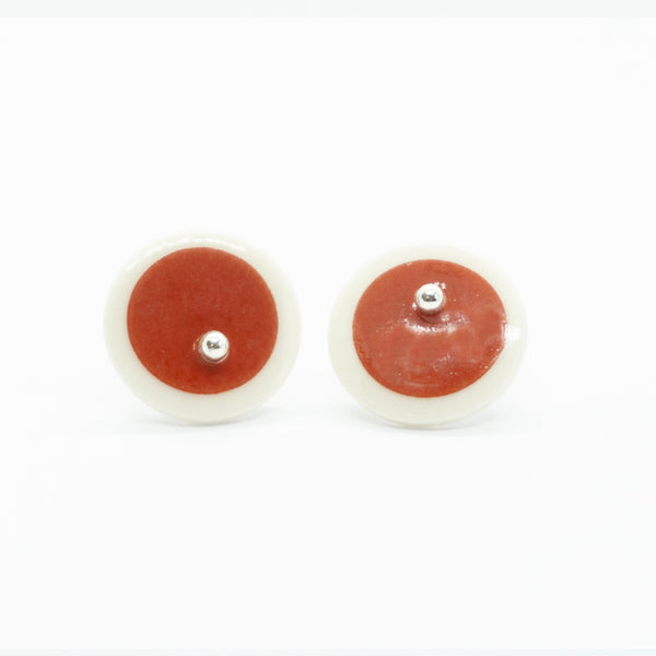 Circle Stripe Red and White Porcelain Stud Earrings